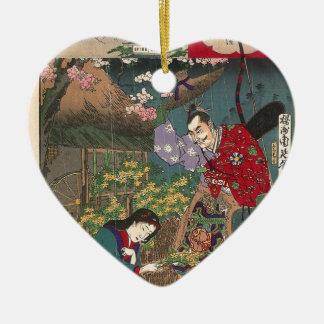 Japanese Beautiful Geisha Samurai Art Ceramic Heart Decoration