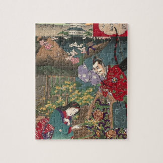 Japanese Beautiful Geisha Samurai Art Jigsaw Puzzle