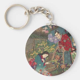 Japanese Beautiful Geisha Samurai Art Key Ring