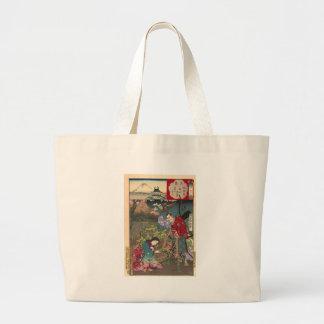 Japanese Beautiful Geisha Samurai Art Large Tote Bag