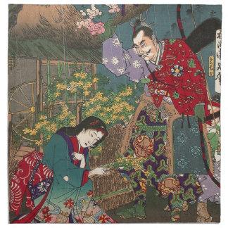 Japanese Beautiful Geisha Samurai Art Napkin