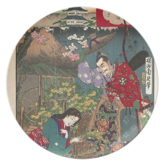 Japanese Beautiful Geisha Samurai Art Plate