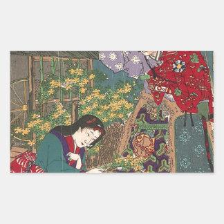 Japanese Beautiful Geisha Samurai Art Rectangular Sticker