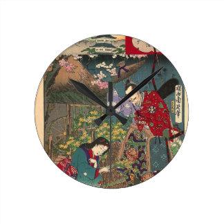 Japanese Beautiful Geisha Samurai Art Round Clock