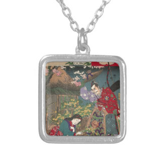 Japanese Beautiful Geisha Samurai Art Silver Plated Necklace