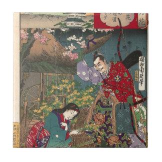 Japanese Beautiful Geisha Samurai Art Tile