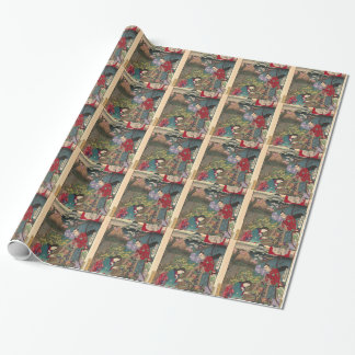 Japanese Beautiful Geisha Samurai Art Wrapping Paper