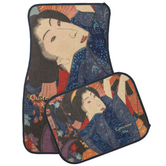 Japanese Beauty airs colourful garments Floor Mat