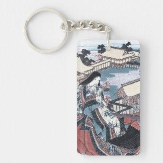Japanese Beauty Ukiyo-e Print with a View of Kyoto Key Ring