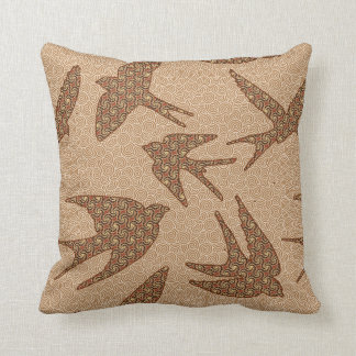 Japanese Birds in Flight, Brown and Beige Cushion