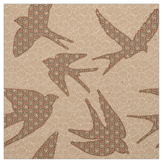 Japanese Birds in Flight, Brown and Beige Fabric
