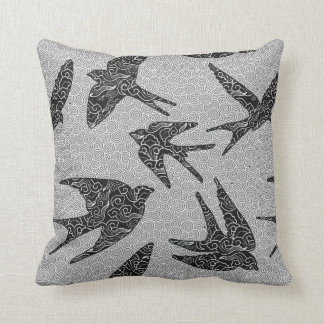 Japanese Birds in Flight, Charcoal and Light Gray Cushion