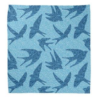 Japanese Birds in Flight, Cobalt Blue and White Bandana