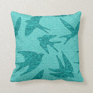 Japanese Birds in Flight, Turquoise and Aqua Cushion