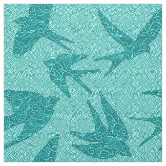 Japanese Birds in Flight, Turquoise and Aqua Fabric