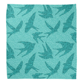 Japanese Birds in Flight, Turquoise and Aqua Kerchief