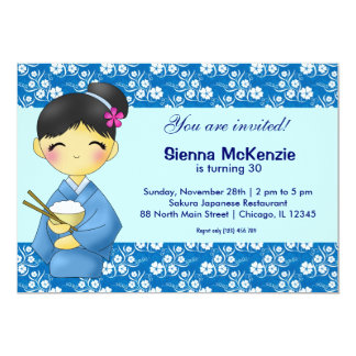 Japanese Birthday theme 13 Cm X 18 Cm Invitation Card