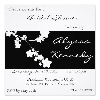 Japanese Black & White Bridal Shower Invite
