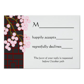 Japanese Blossoms and Screen RSVP Card 9 Cm X 13 Cm Invitation Card