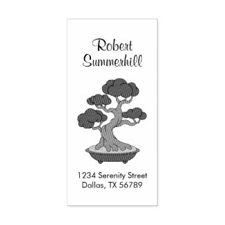 Japanese Bonsai Tree Address, Etched Rubber Stamp