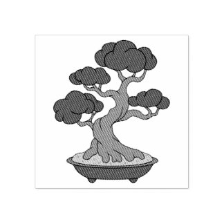 Japanese Bonsai Tree in a Tray, Etched Rubber Stamp