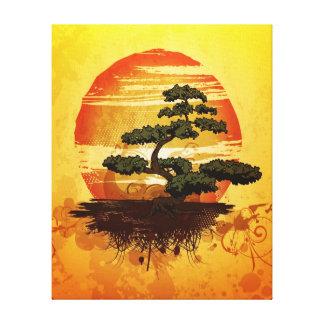 Japanese Bonsai Tree Sunset Gallery Wrap Canvas