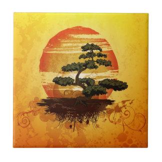 Japanese Bonsai Tree Sunset Ceramic Tile