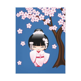 Japanese Bride Kokeshi Doll Stretched Canvas Print
