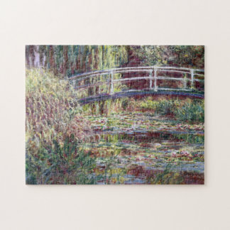 Japanese Bridge Symphony in Rose Monet Fine Art Jigsaw Puzzle
