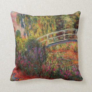 Japanese Bridge Water Lily Pond by Claude Monet Throw Cushions