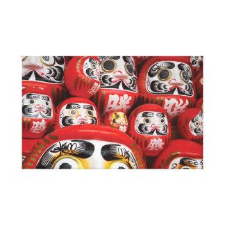 Japanese Bright Red Daruma Dolls. Canvas Print