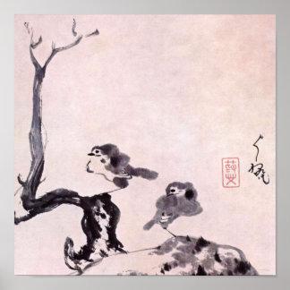 Japanese Brush Painting, Chu-Ta 1650-1705 Poster