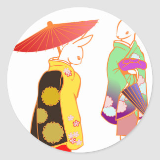 Japanese Bunny Rabbits Classic Round Sticker