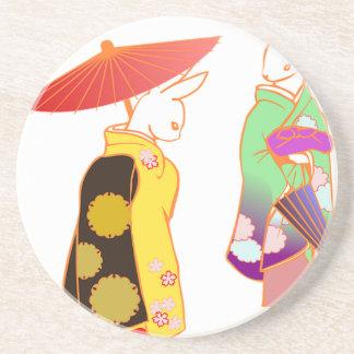 Japanese Bunny Rabbits Coaster