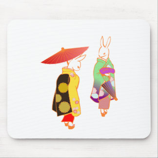 Japanese Bunny Rabbits Mouse Pad