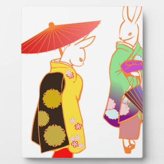 Japanese Bunny Rabbits Plaque