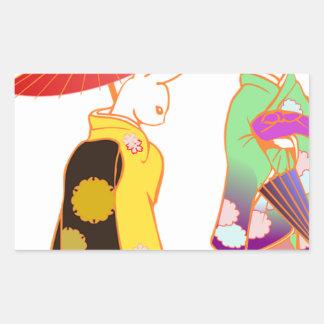 Japanese Bunny Rabbits Rectangular Sticker