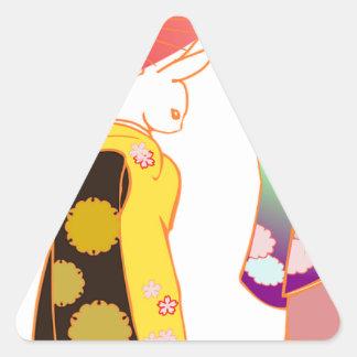 Japanese Bunny Rabbits Triangle Sticker