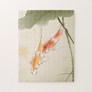 Japanese Carp fishes swimming in lotus pond Jigsaw Puzzle