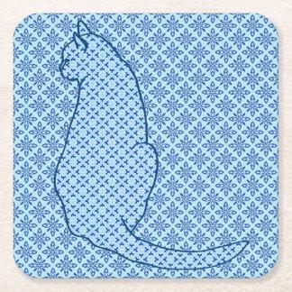 Japanese Cat - Blue Kimono Print Square Paper Coaster