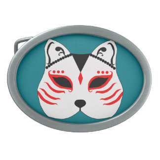 Japanese cat mask belt buckle
