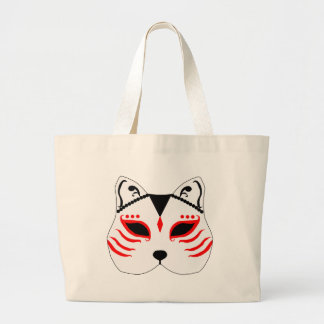 Japanese cat mask large tote bag