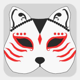 Japanese cat mask square sticker