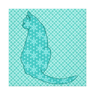 Japanese Cat - Turquoise Kimono Print Stretched Canvas Prints
