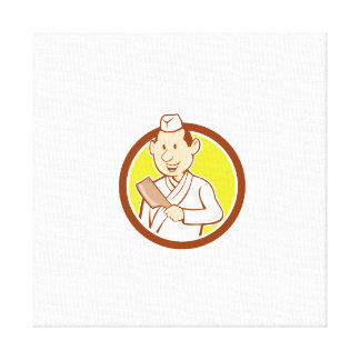 Japanese Chef Cook Meat Cleaver Circle Cartoon Stretched Canvas Print