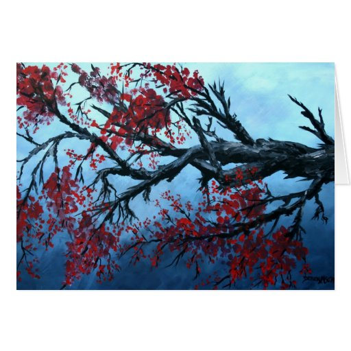 japanese cherry blossom flower tree  oriental art cards