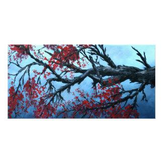 japanese cherry blossom flower tree  oriental art personalized photo card
