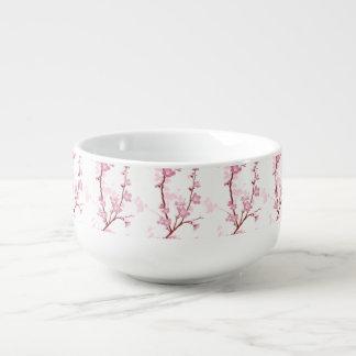 Japanese cherry blossom, gentle pink flower,girly, soup mug