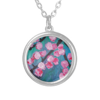 Japanese Cherry Blossom Painting Silver Plated Necklace