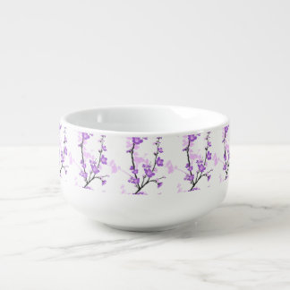 Japanese cherry blossom, royal purple, flower,girl soup bowl with handle